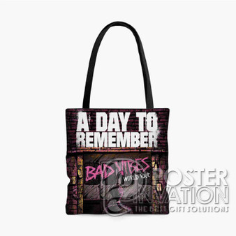 A Day To Remember Bad Vibes Tour Custom Tote Bag AOP Polyester S M L Comfort Fashionable Totebags Unisex Stylish Bag Perfect Gift