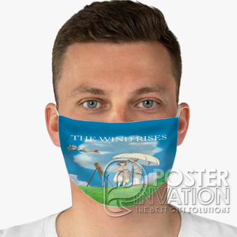 The Wind Rises Custom Fabric Face Mask Fashionable Two Layer Polyester