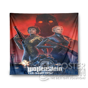Wolfenstein Youngblood Custom Tapestry Wall Decor Art Hanging Tapestries Home Decoration Scandinavian Style Monochrome