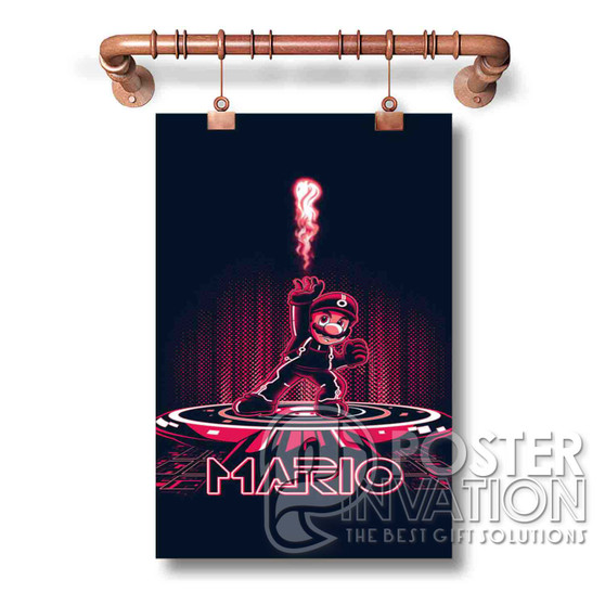 Mario Bross Tron Art Wall Custom Silk Poster Wall Decor 20 x 13 Inch 24 x 36 Inch