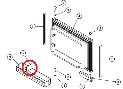 RV Refrigerator Door Shelf Bin Clear Norcold 422508810