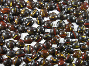 Cabochon 10 Piece 10mm Round - Tiger Iron