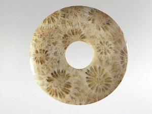 Donut Pendant 30mm - Coral Fossil 7