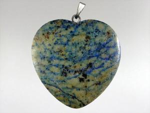 Heart Pendant 30mm - Azurite Malachite 7