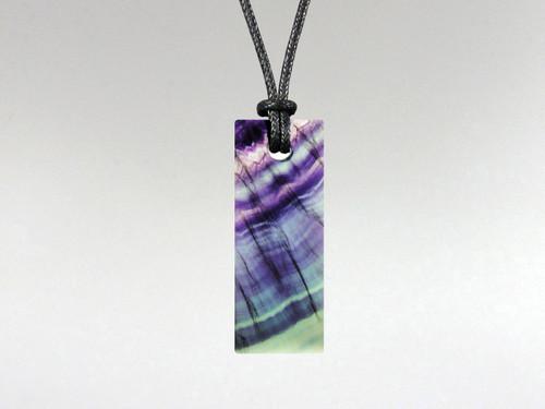 Flat Rectangle Pendant - Fluorite Rainbow