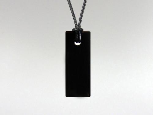 Flat Rectangle Pendant - Obsidian Black