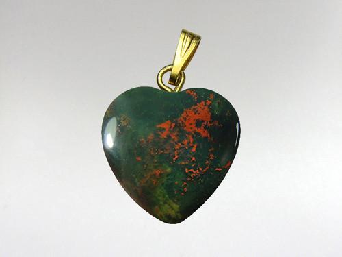 Heart Pendant 15mm - Bloodstone
