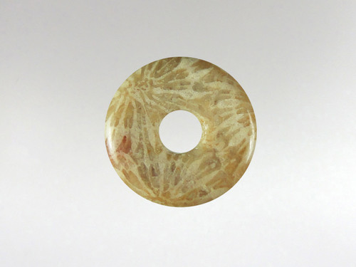 Donut Pendant 15mm - Coral Fossil