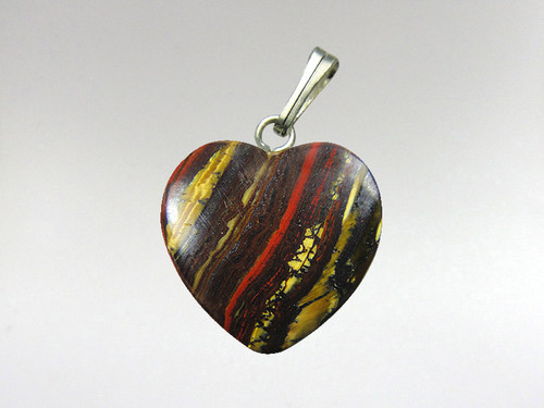 Heart Pendant 15mm - Tiger Iron