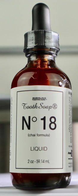 Tooth Soap® Liquid No 18 (chai formula) with manuka honey from New Zealand. Best selling, super cleansing, plaque removing, tooth and gum cleanser. Made in the USA.