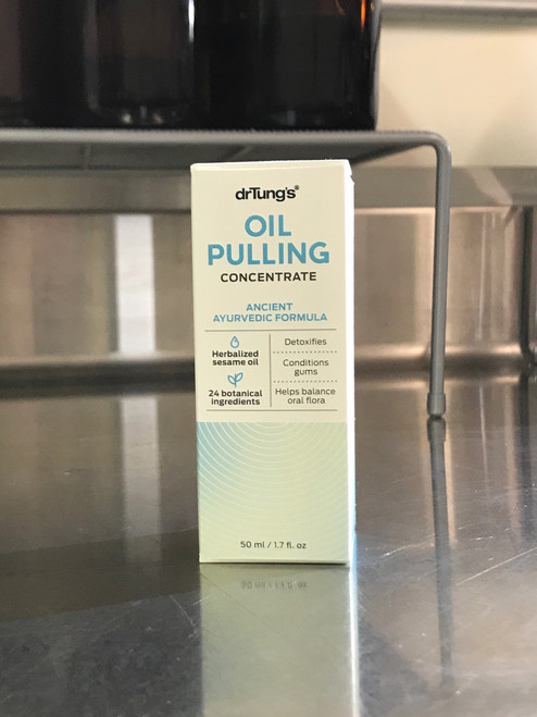 Dr. Tung's Oil Pulling Liquid Herbalized Sesame Oil for super clean gums and a healthier mouth that will help prevent periodontal disease.