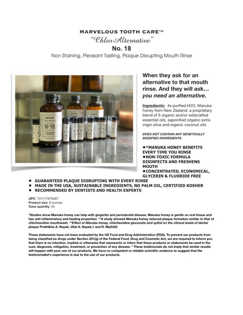 Marvelous Tooth Care™ Chlor-Alternative No. 18 Mouth Rinse
