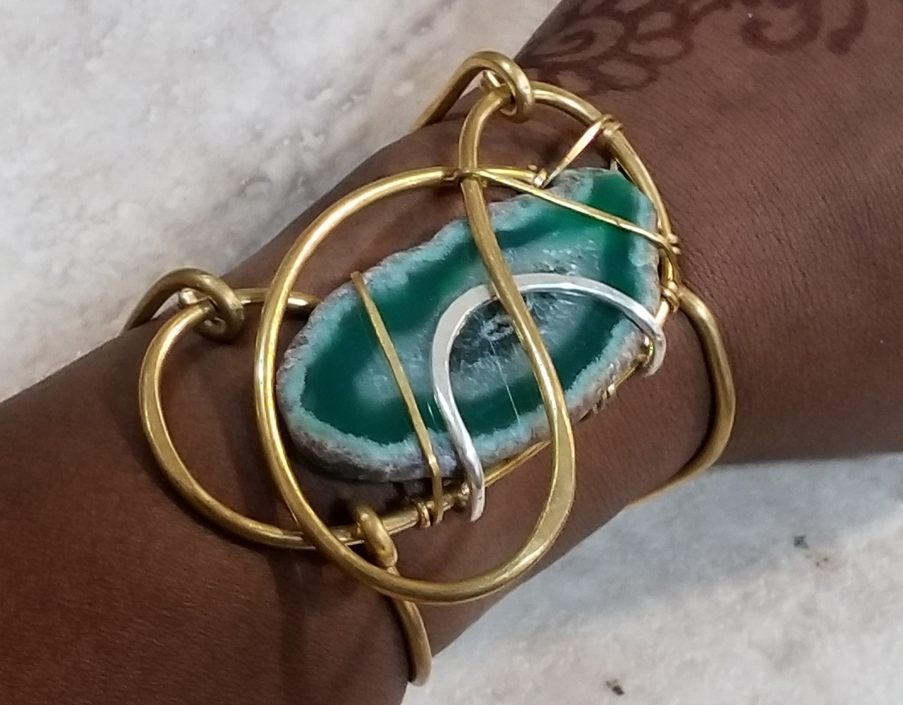 Green Agate Galaxy Bracelet