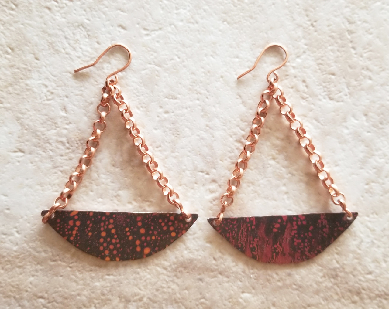 Copper Patina Arch Earrings