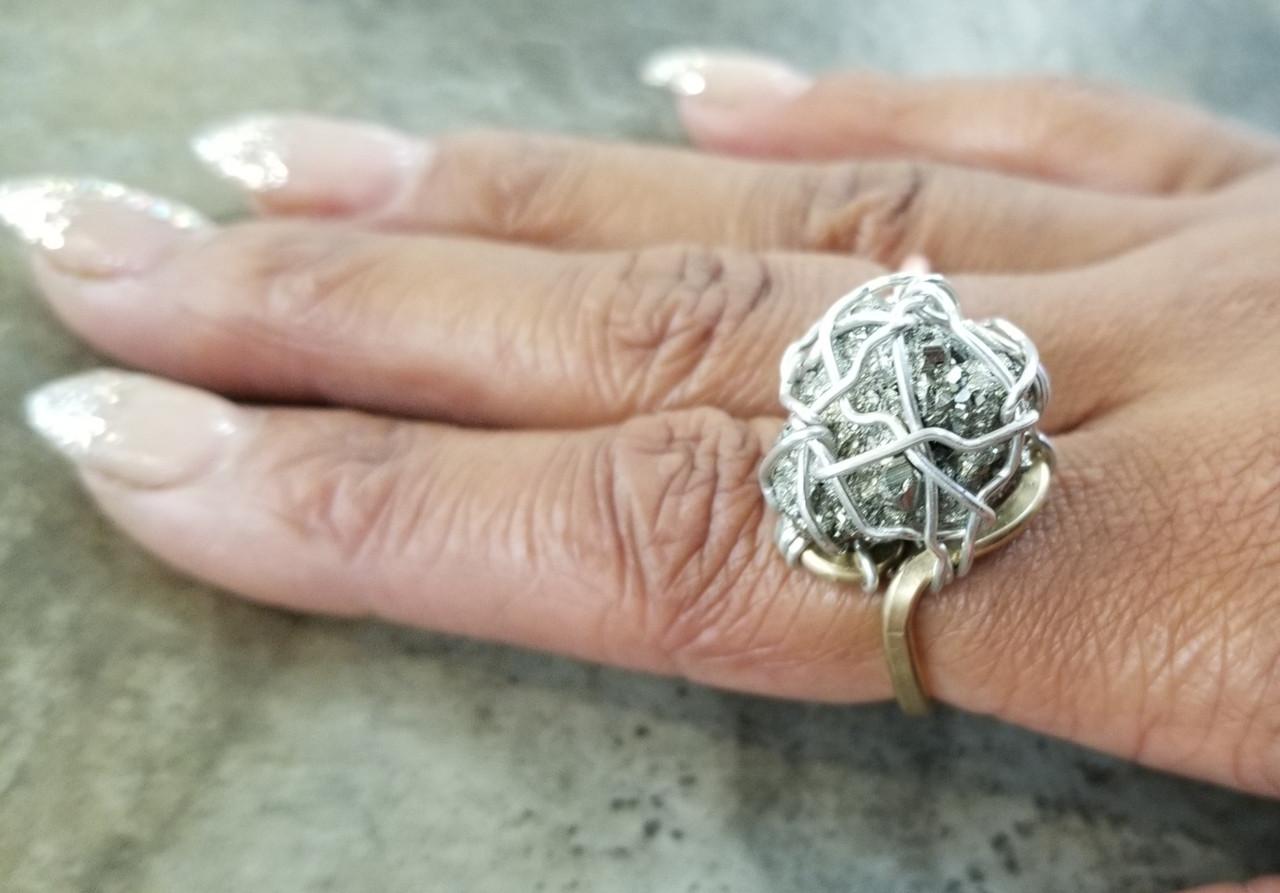 Pyrite Ring w/ Silver Webbing
