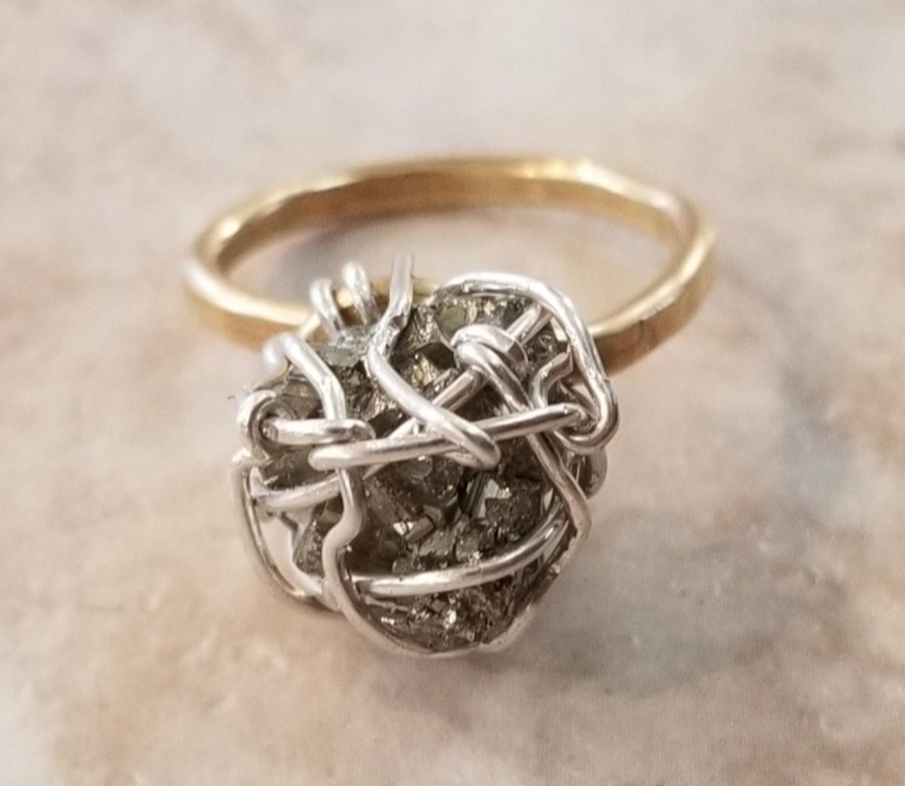 Pyrite Ring w/ Silver webbing Sm