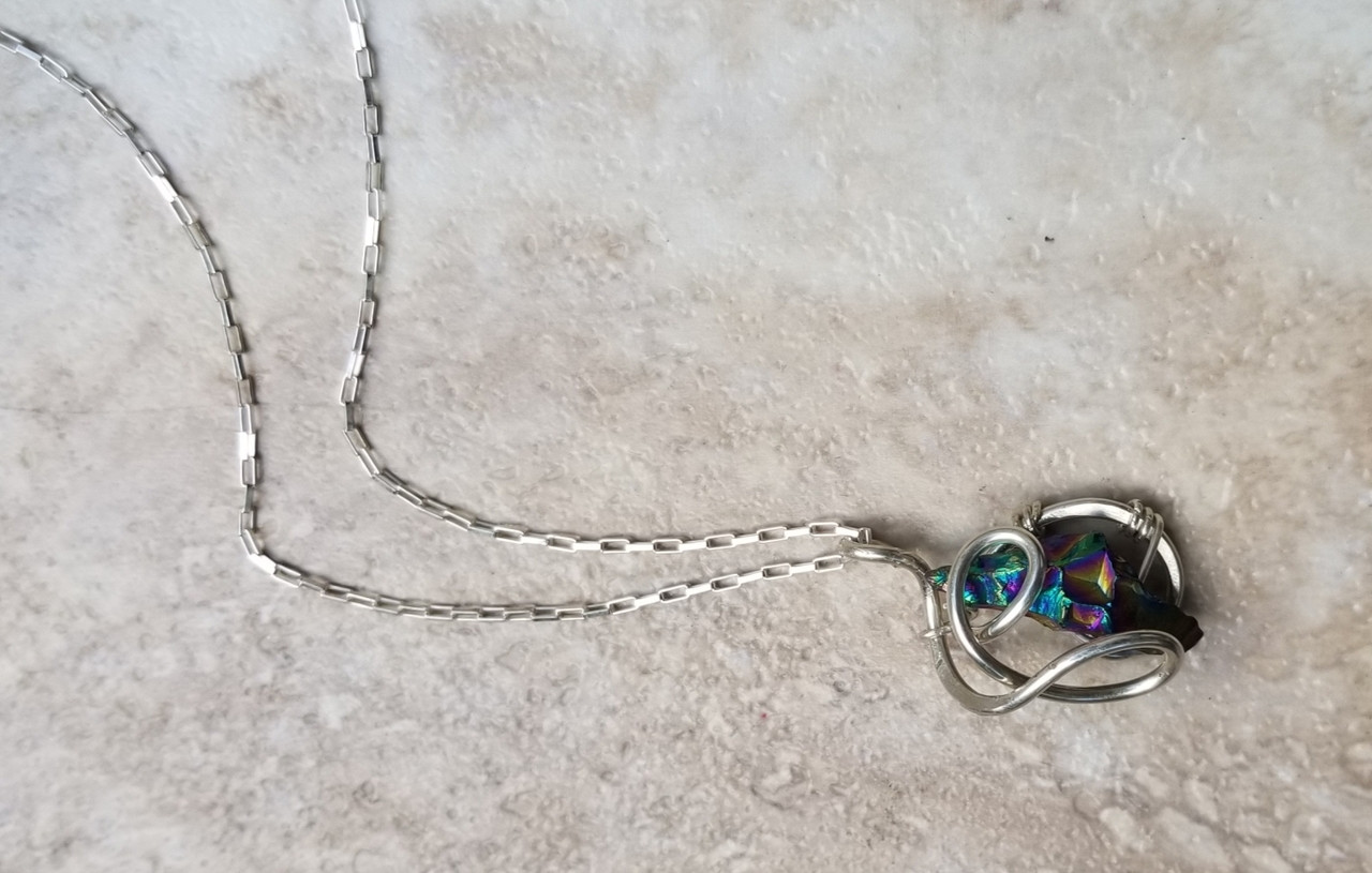 Rainbow Quartz galaxy necklace