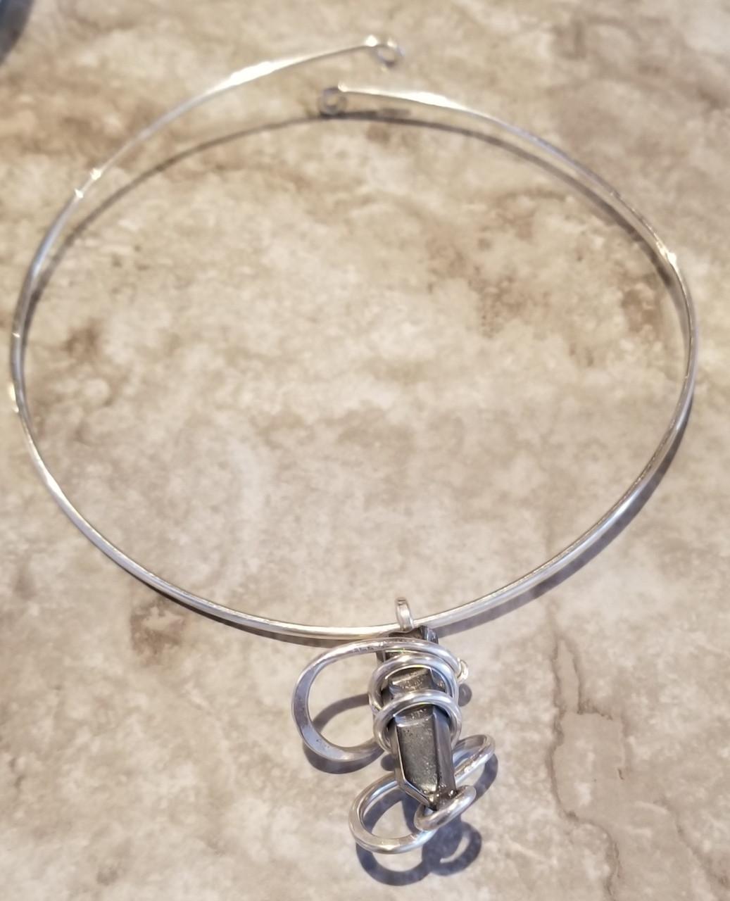 Silver quartz galaxy necklace