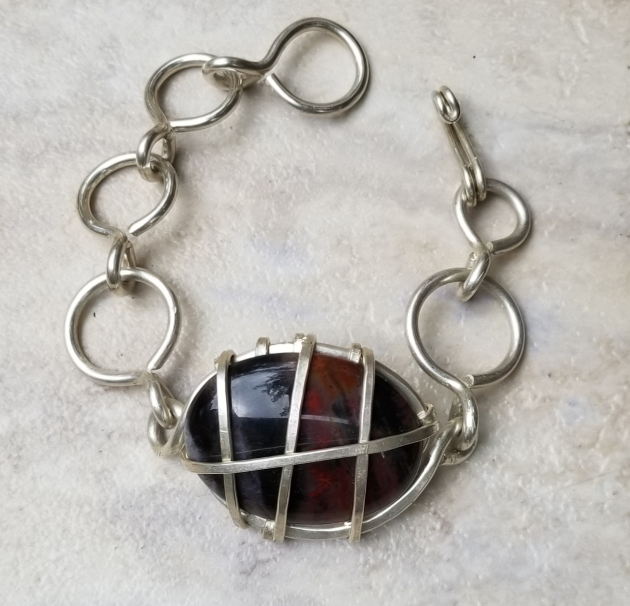 Petrified Wood Silver Chain Bracelet