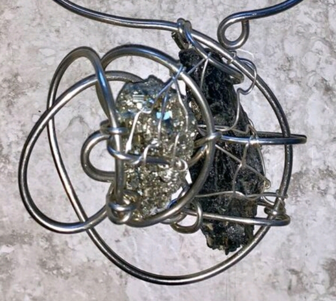 Pyrite & Black Tourmaline Galaxy Necklace