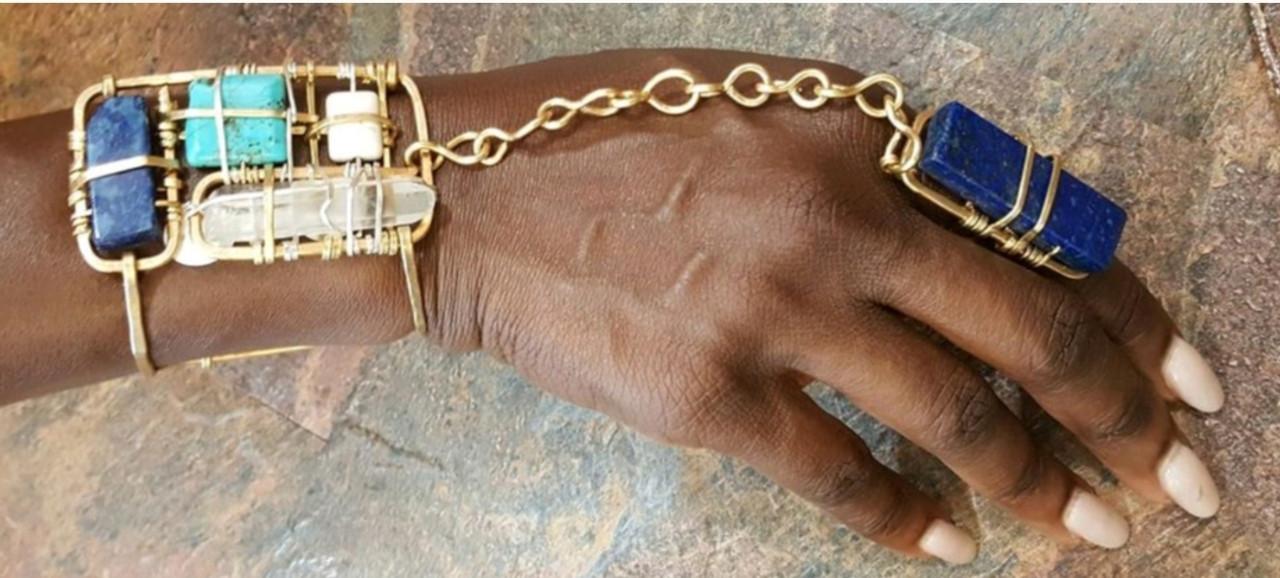Sacred Geometry Lapis Goddess Bracelet