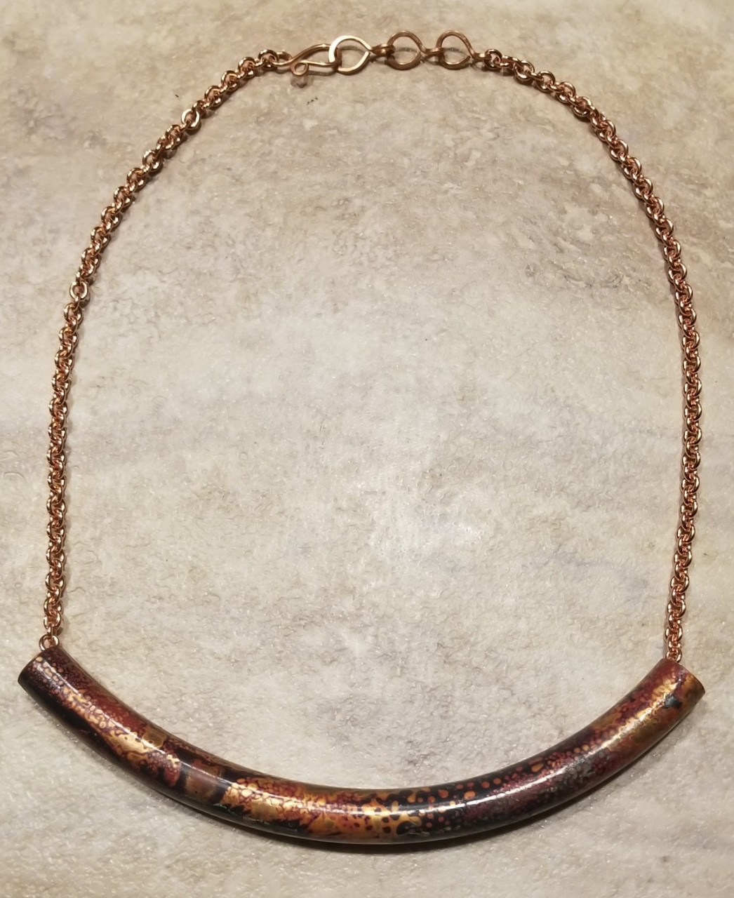 Copper Petina Tube Necklace