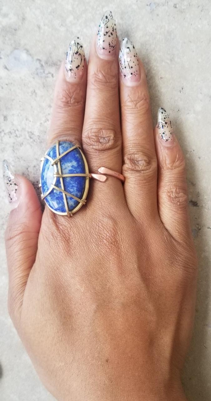 Lapis  Oblong Ring