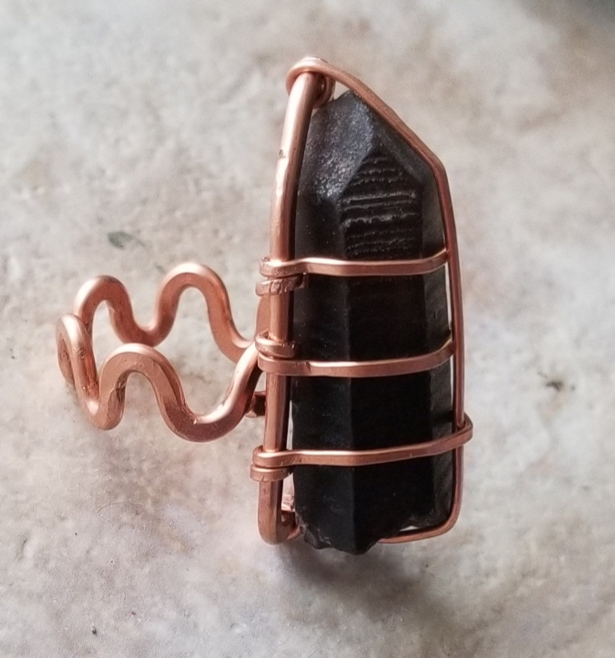 Raw Smoky Quartz Wand Ring