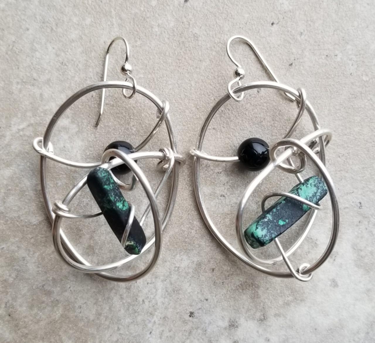 Green jasper & onyx silver galaxy earrings