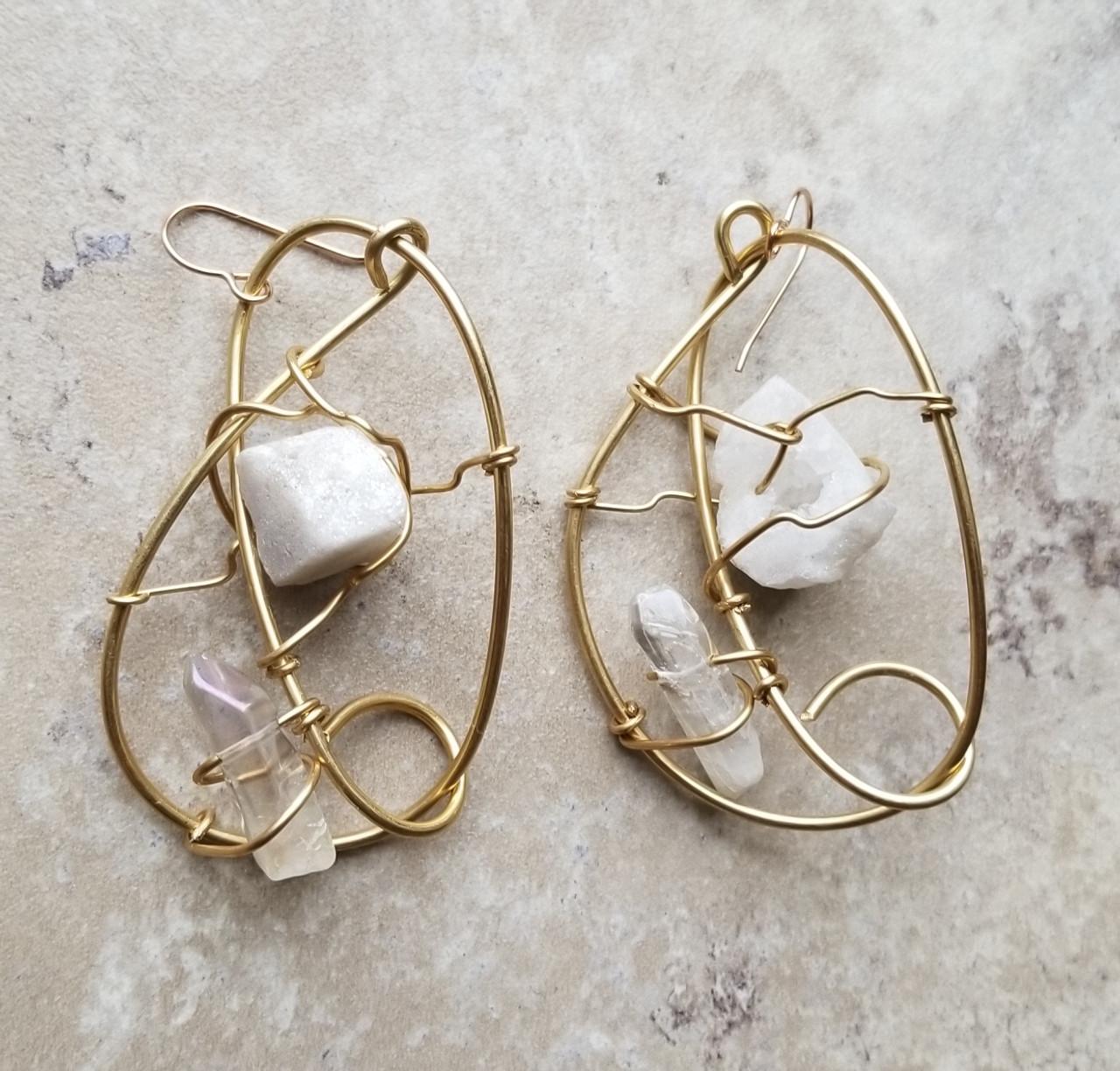Druzy & quartz bronze galaxy earrings