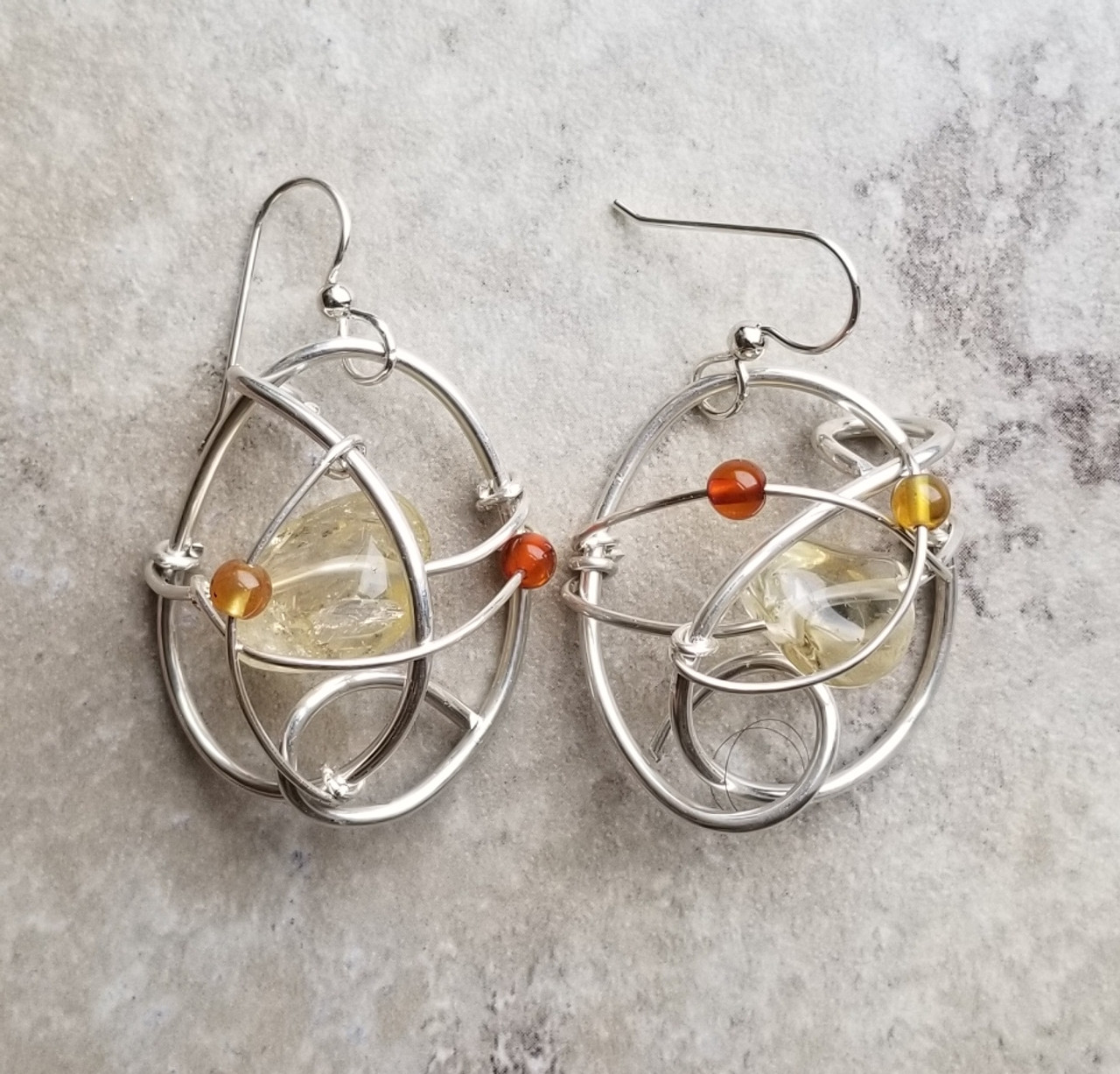 Amber & Citrine Galaxy Earrings