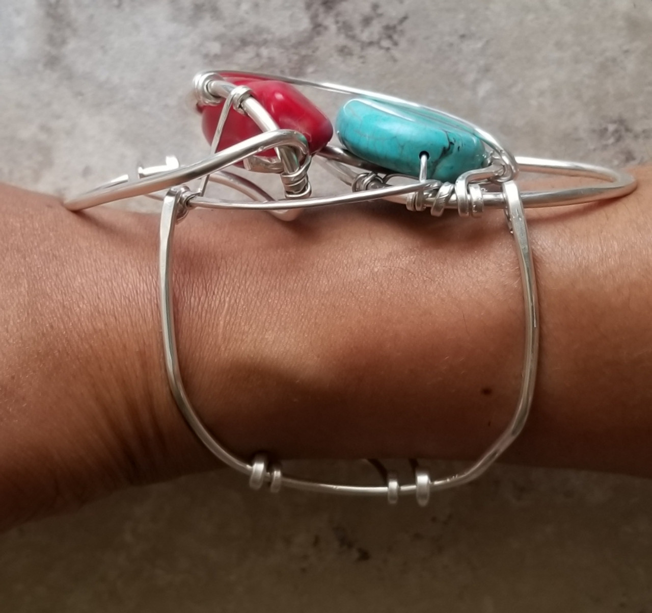 Coral & Turquoise Silver Galaxy Cuff