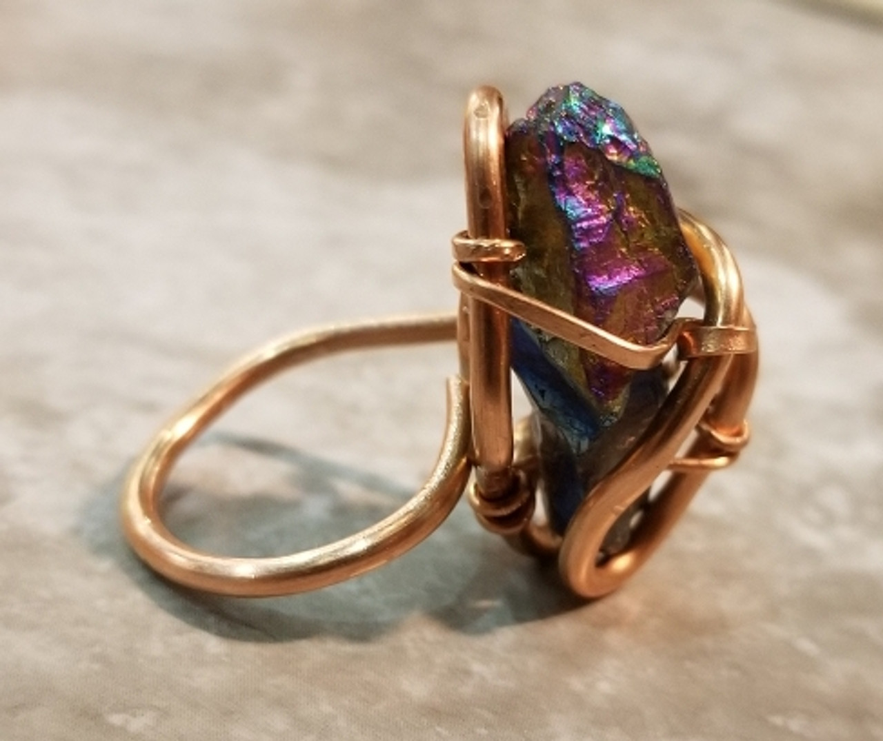 Rainbow Quartz Galaxy Ring Medium