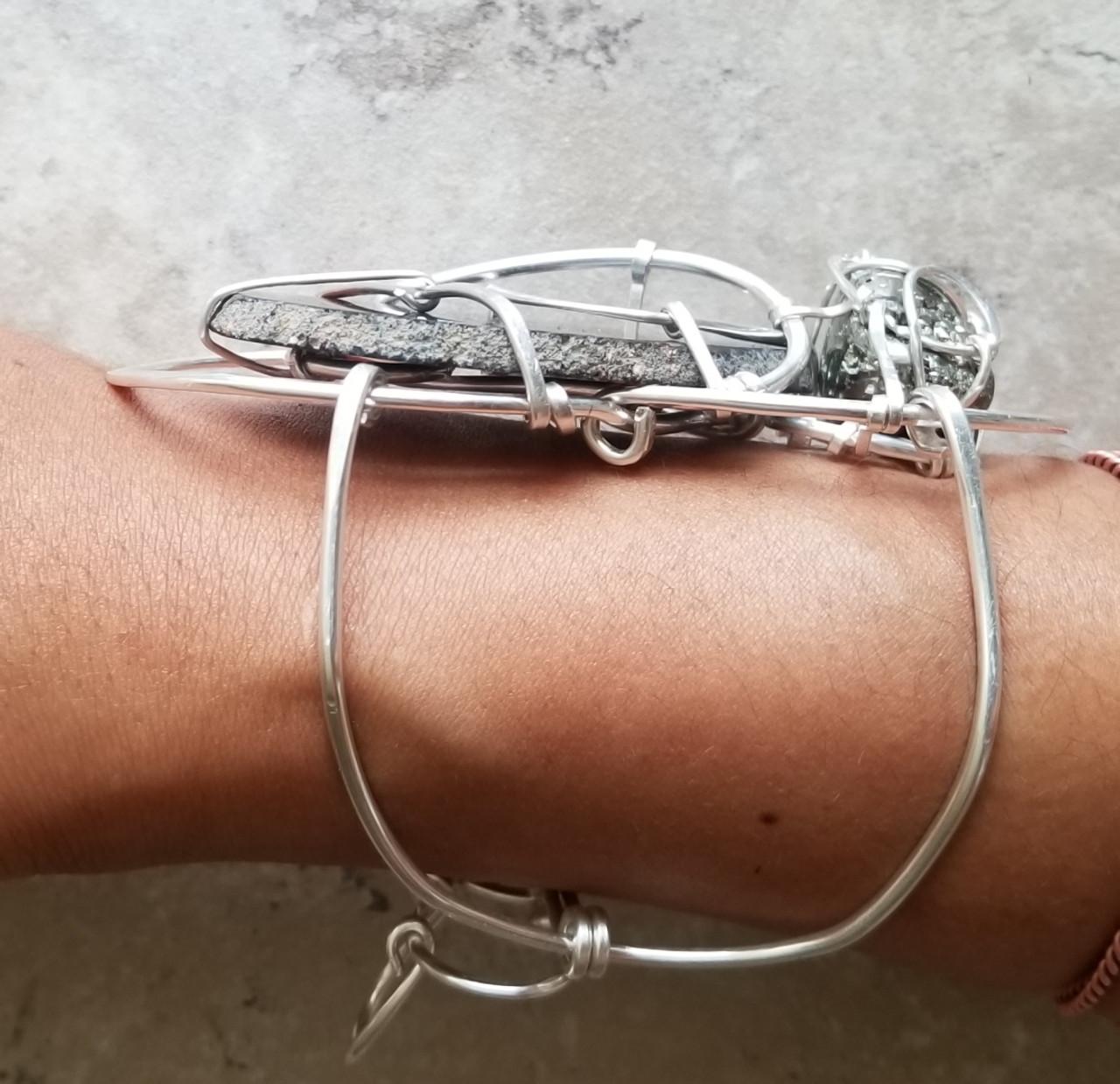 Agate & Pyrite Silver Galaxy Cuff