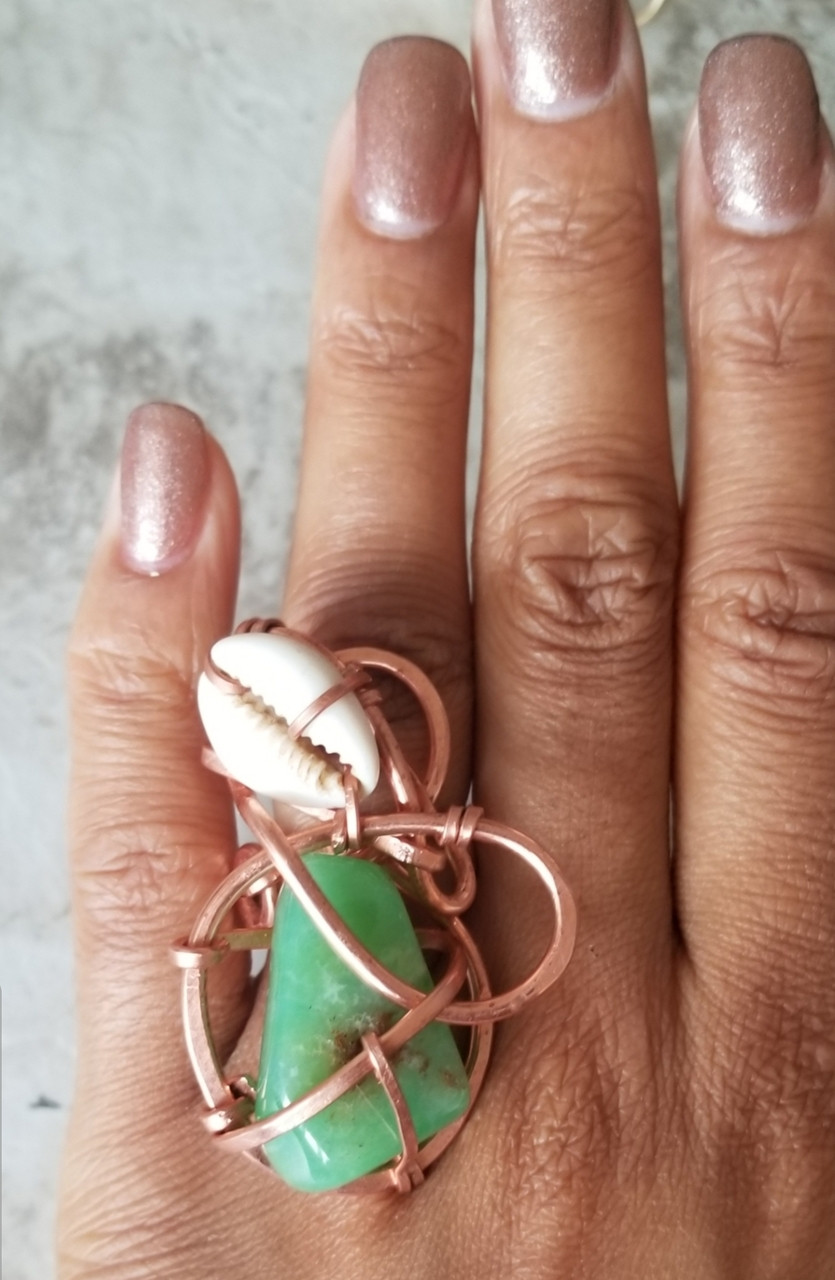 Chrysophrase & Cowrie Shell Galaxy Ring