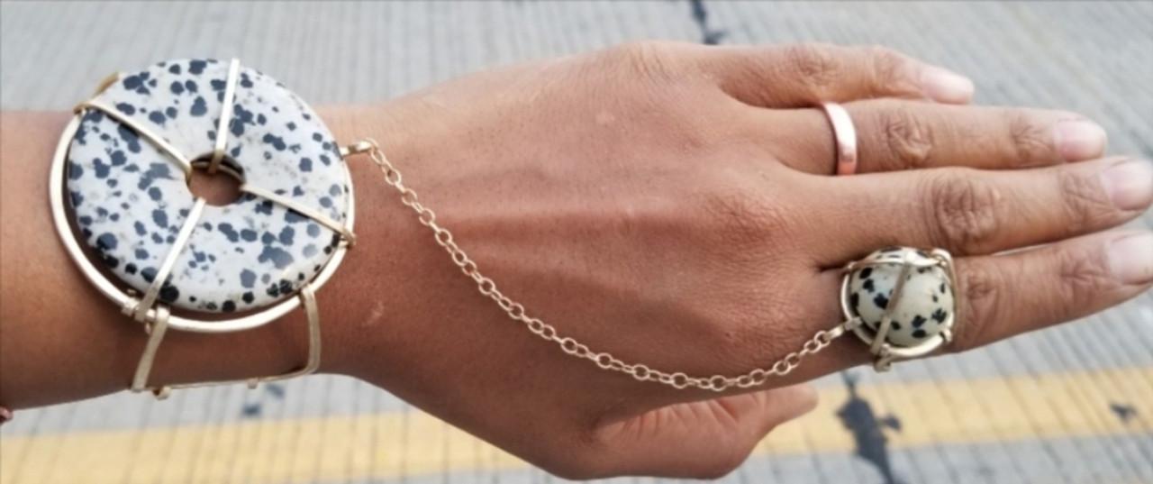 Dalmatian Jasper Goddess Bracelet