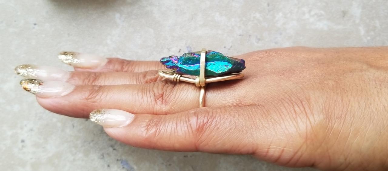 Rainbow Quartz Ring