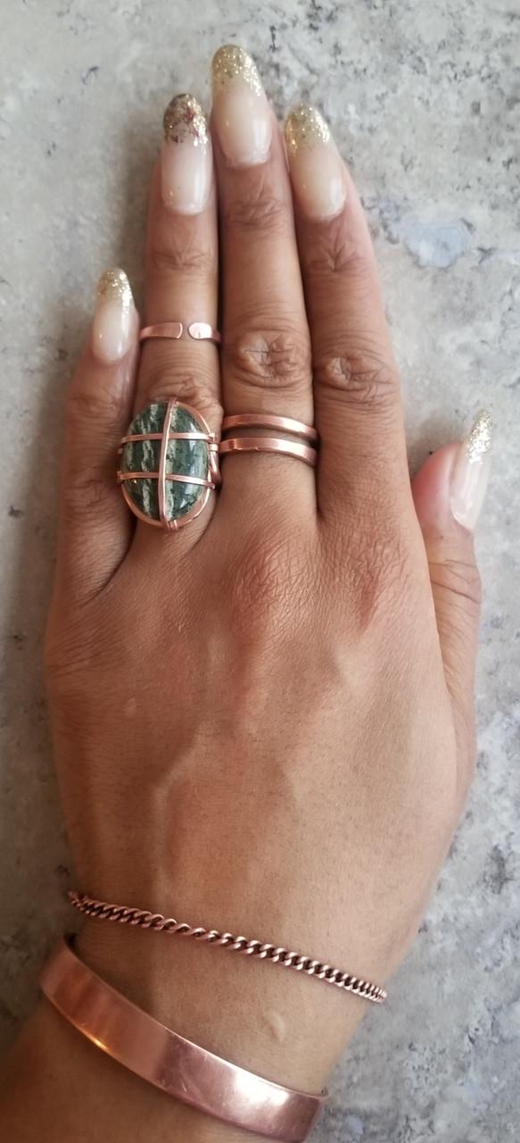 Green Zebra Jasper Ring: Oval