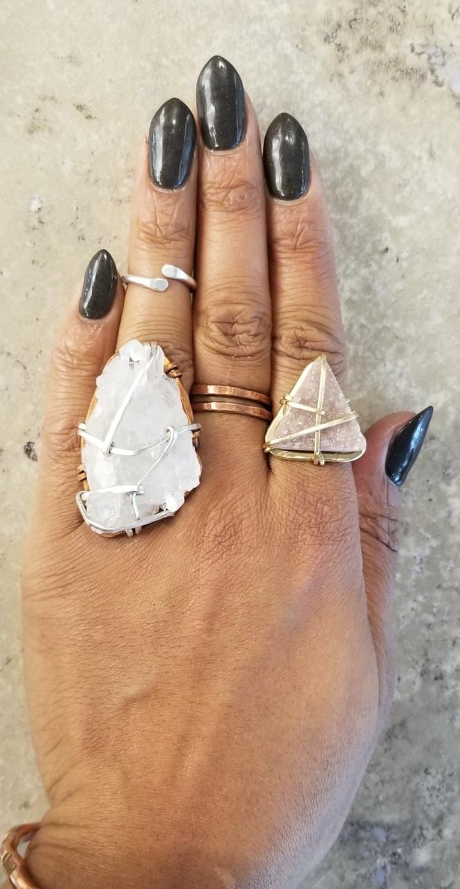 Druzy Pyramid Ring