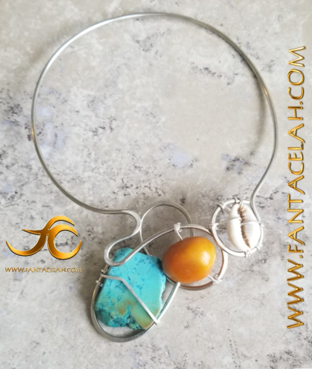 Afro-dreams Amber & Turquoise Galaxy Necklace