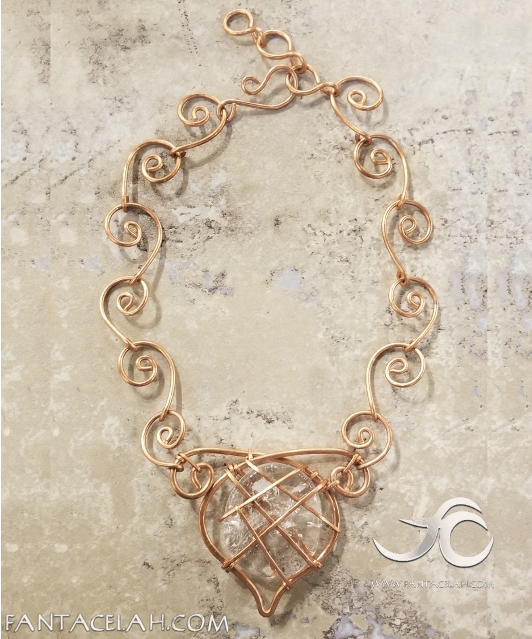 Crown Jewel Quartz Spiral Necklace