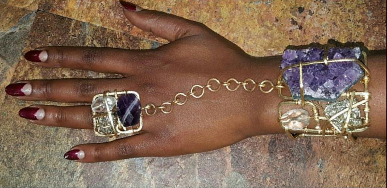Amethyst,  Pyrite & Quartz Goddess Bracelet