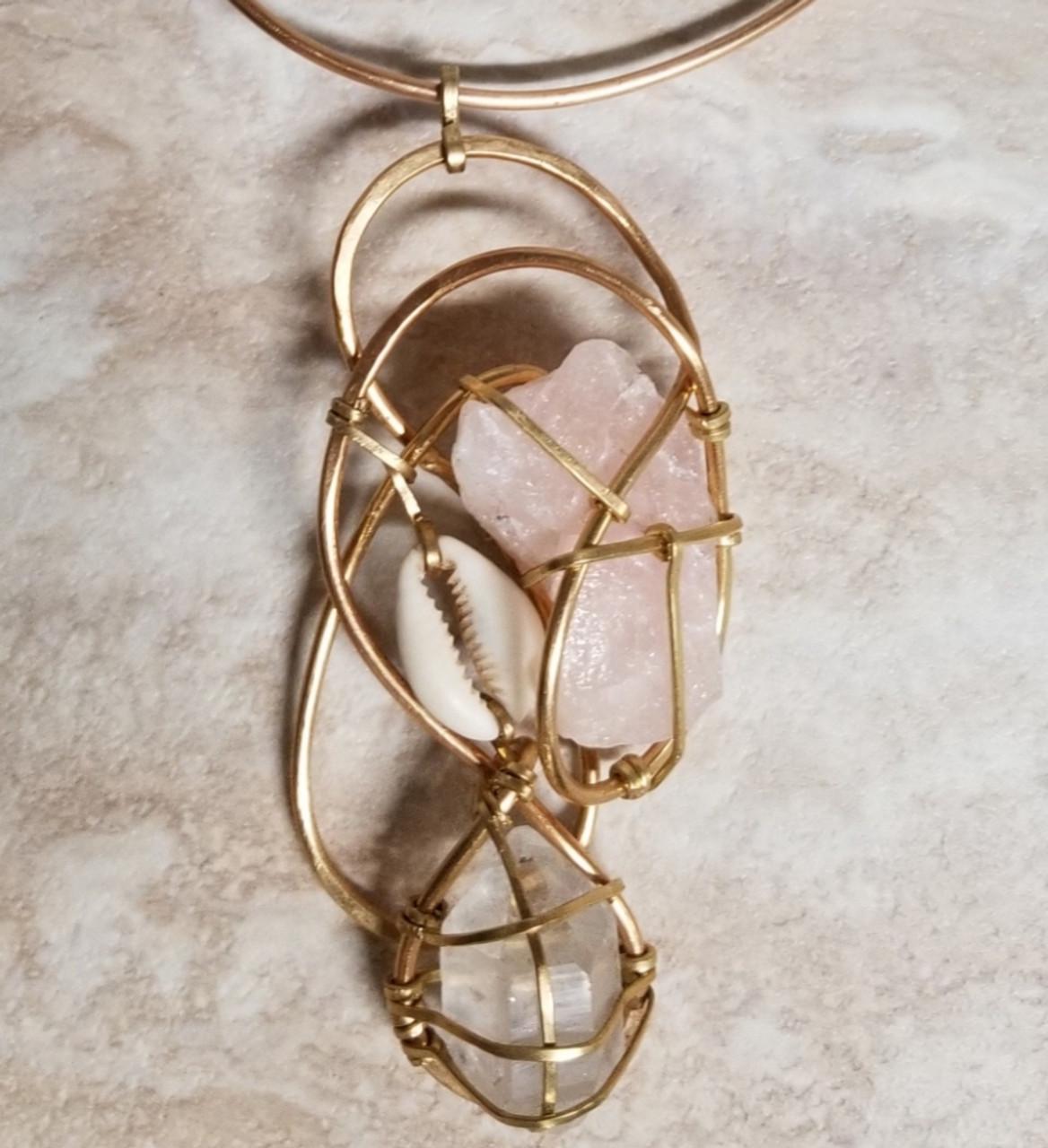 Rose Quartz & Cowrie Shell Galaxy Necklace