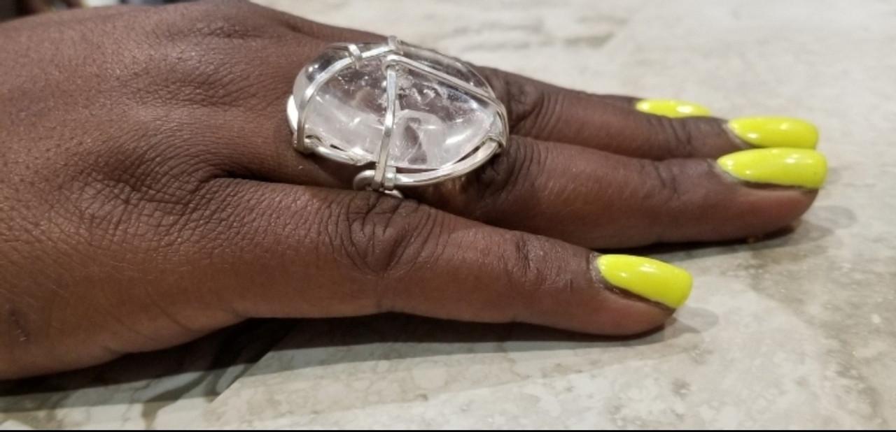 Clear Quartz Polished Ring: Lrg