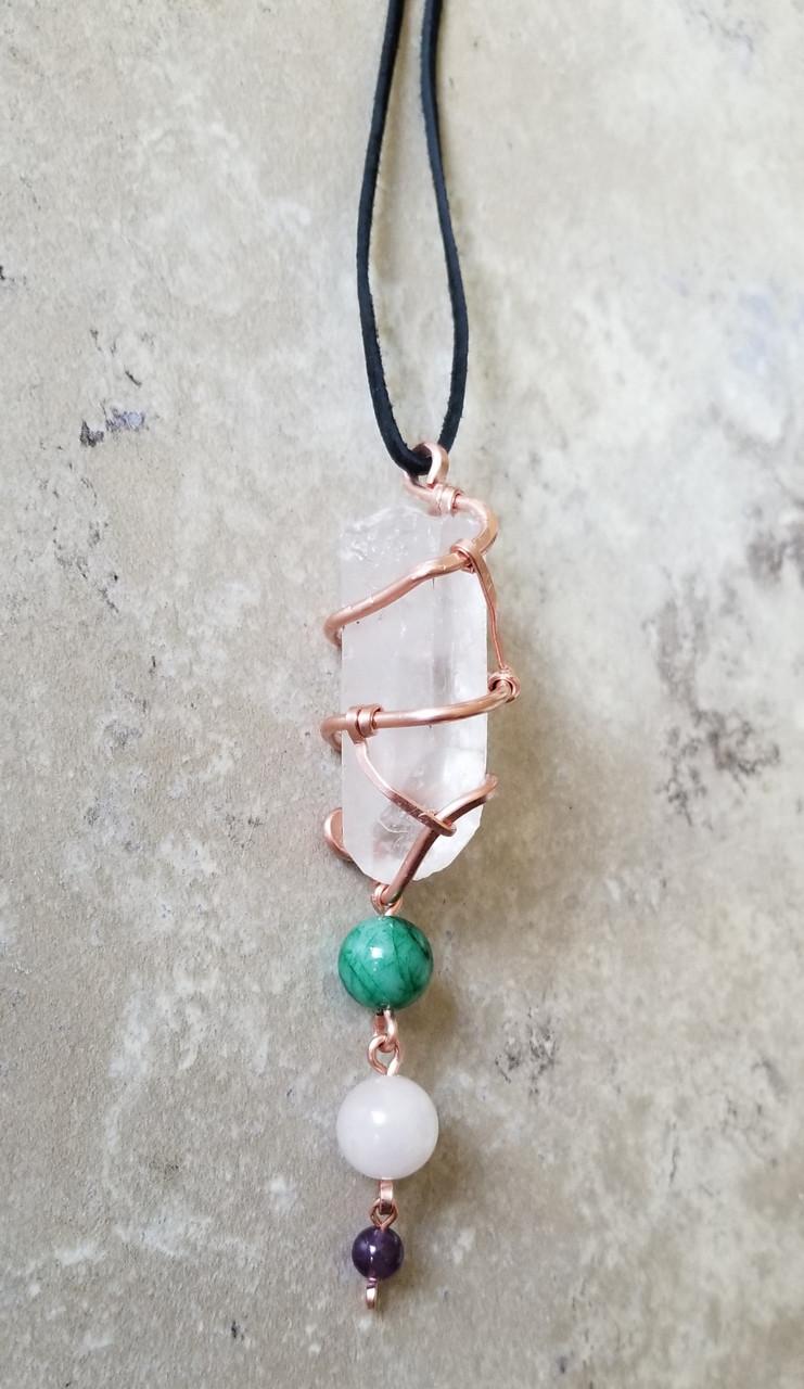 Crystal Medicine Necklace :  Clear Quartz, Jade, Rose Quartz,  & Amethyst