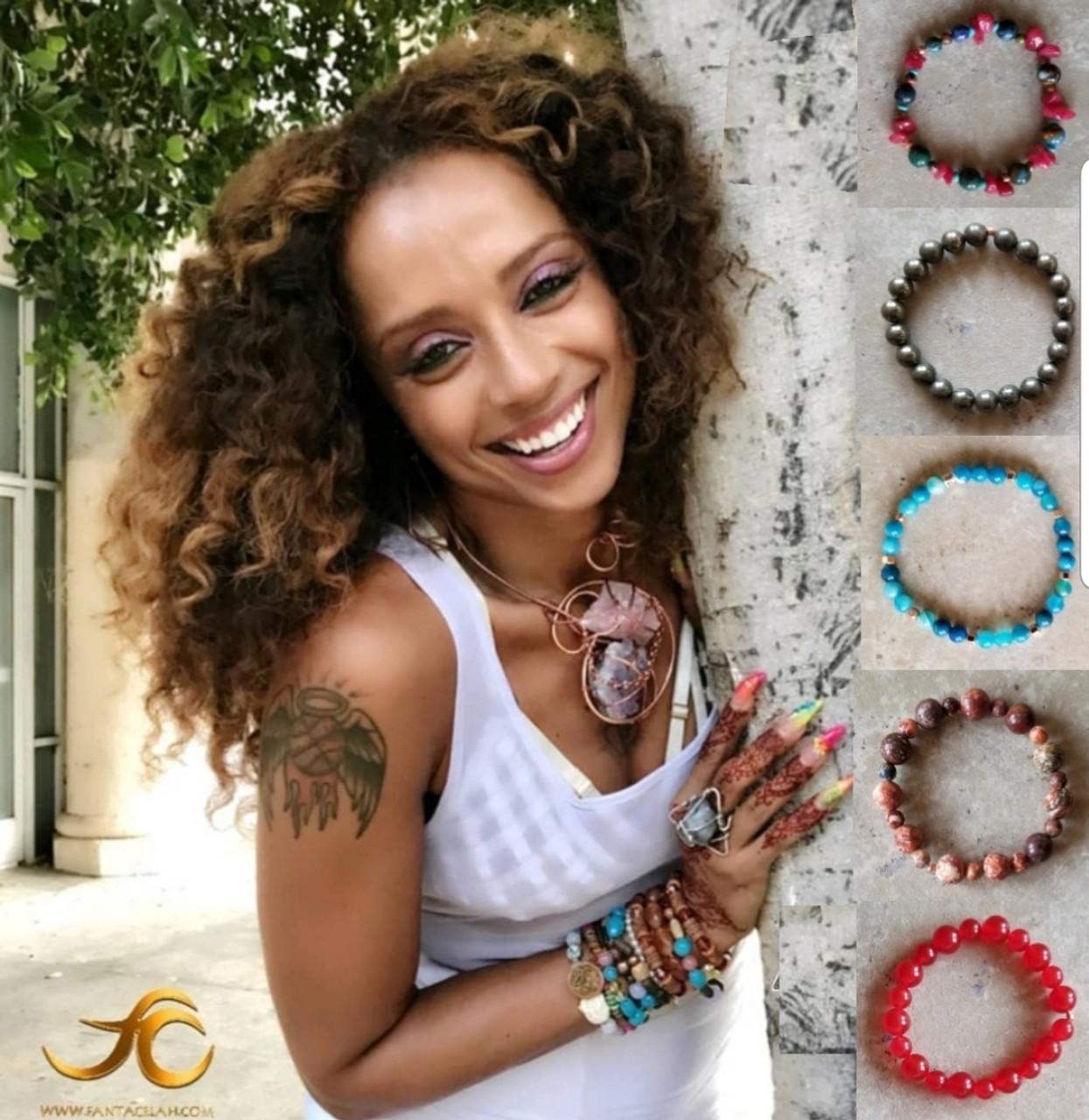 Blue Agate & Hematite Yoga Bracelet