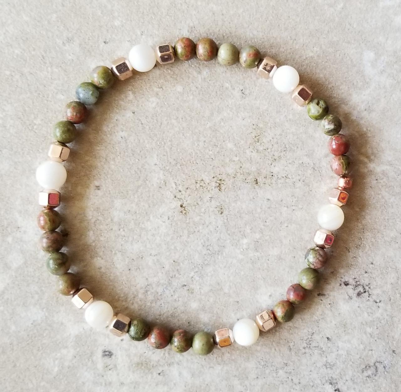 Unakite, Rose Quartz,  & Hematite Yoga Bracelets