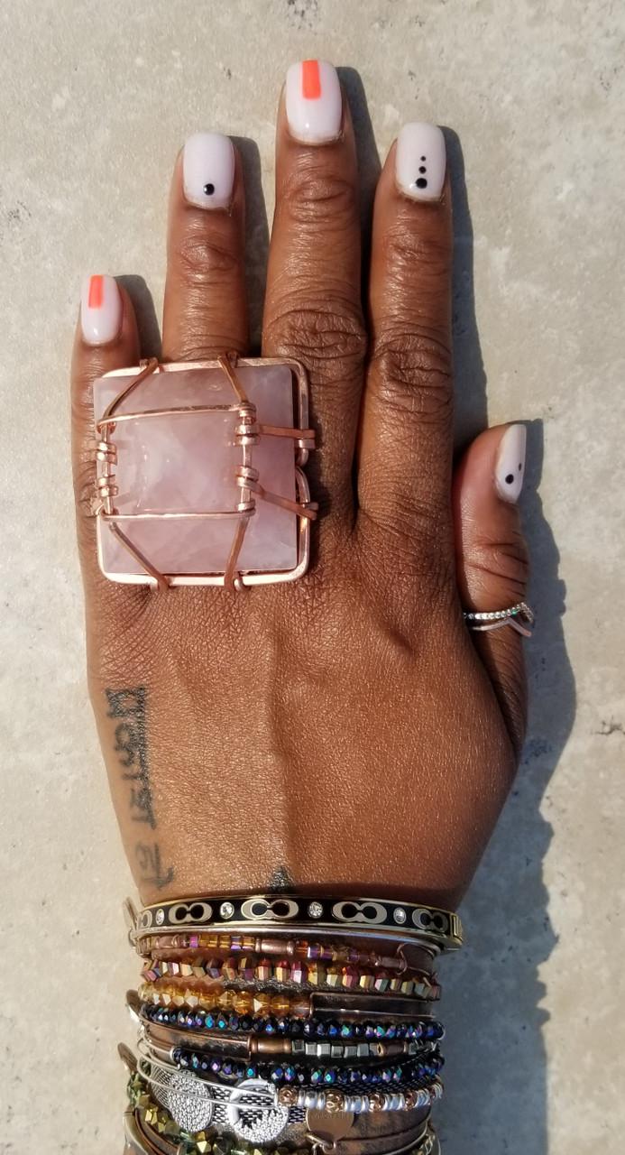 Rose Quartz Pyramid Ring: XL