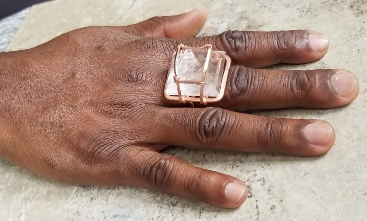 3D Crystal Quartz Pyramid Ring