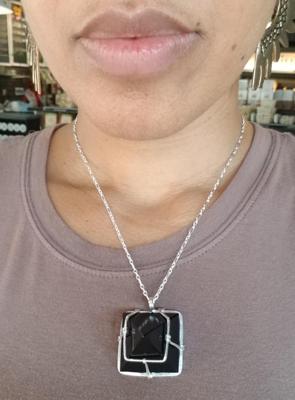 Onyx  Pyramid Necklace